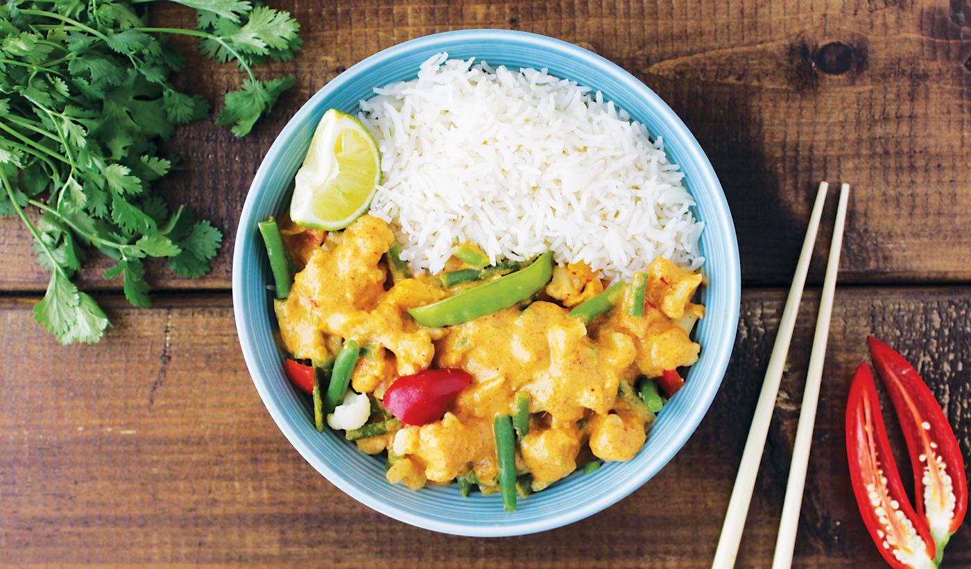 Vegan Penang curry with rice