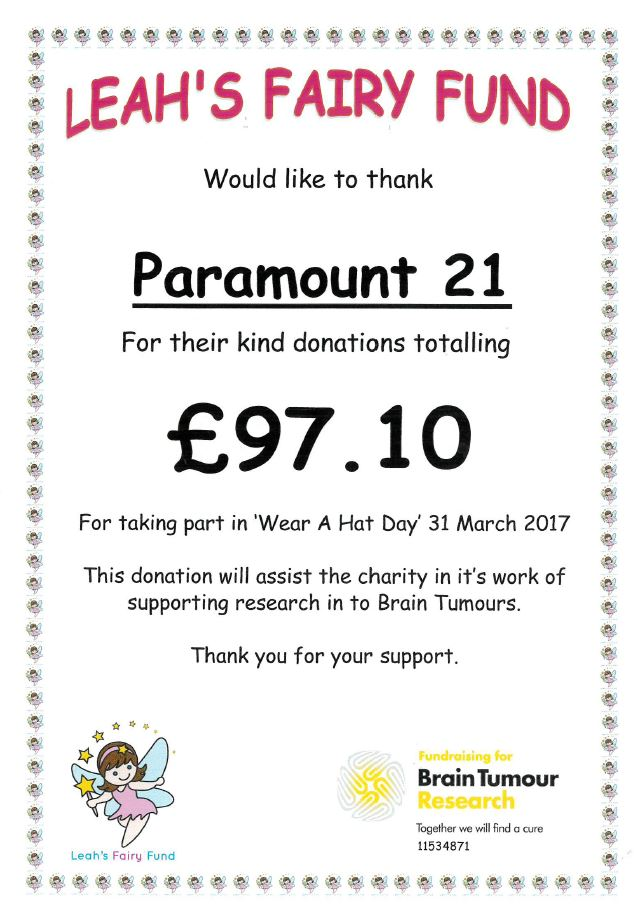 Paramount 21 Donation Certificate
