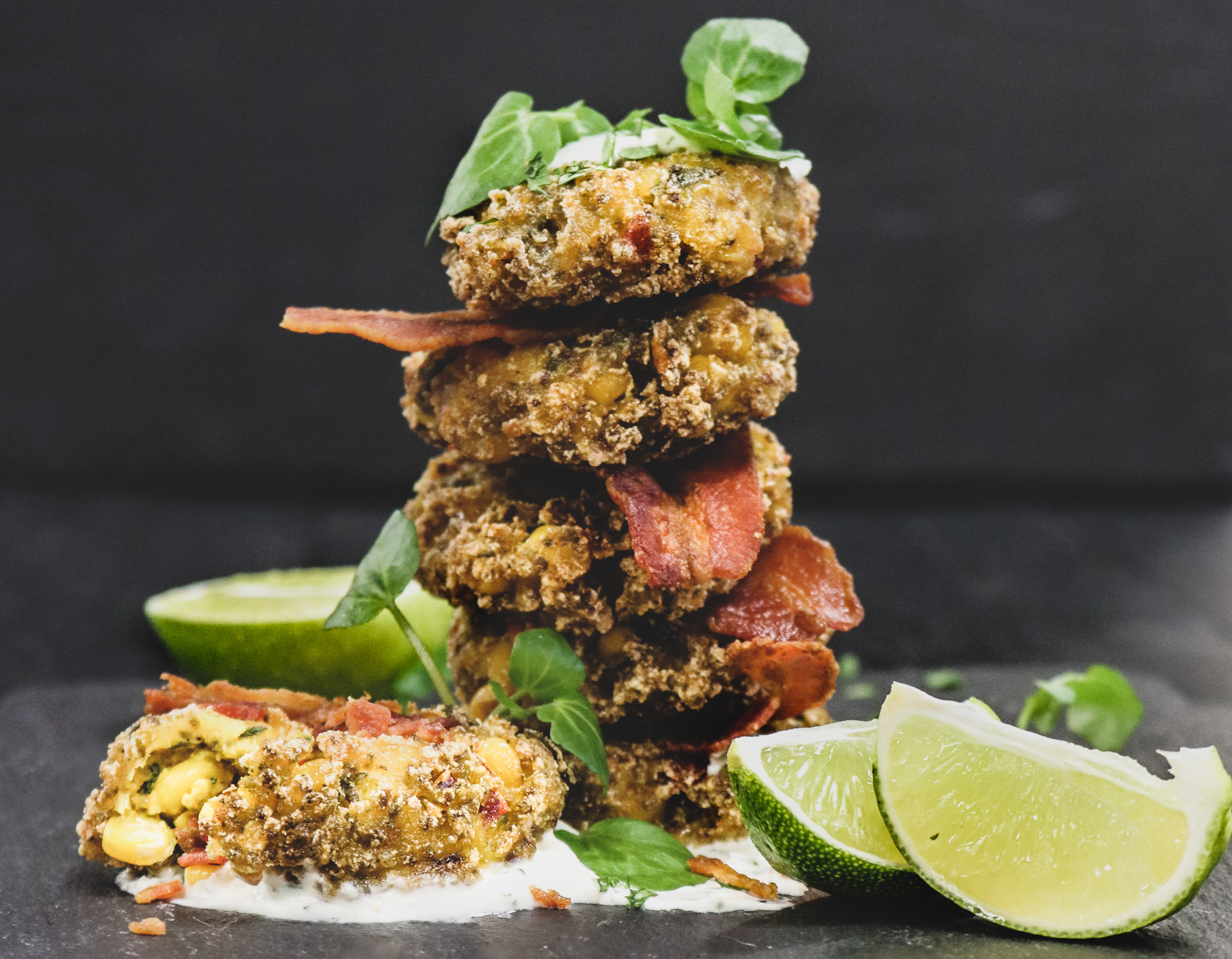 Spicy Sweetcorn Fritters with Bacon