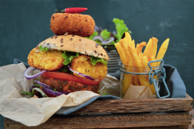 Chipotle Mac 'n' Cheese Croquette in a Luxury Veggie Burger