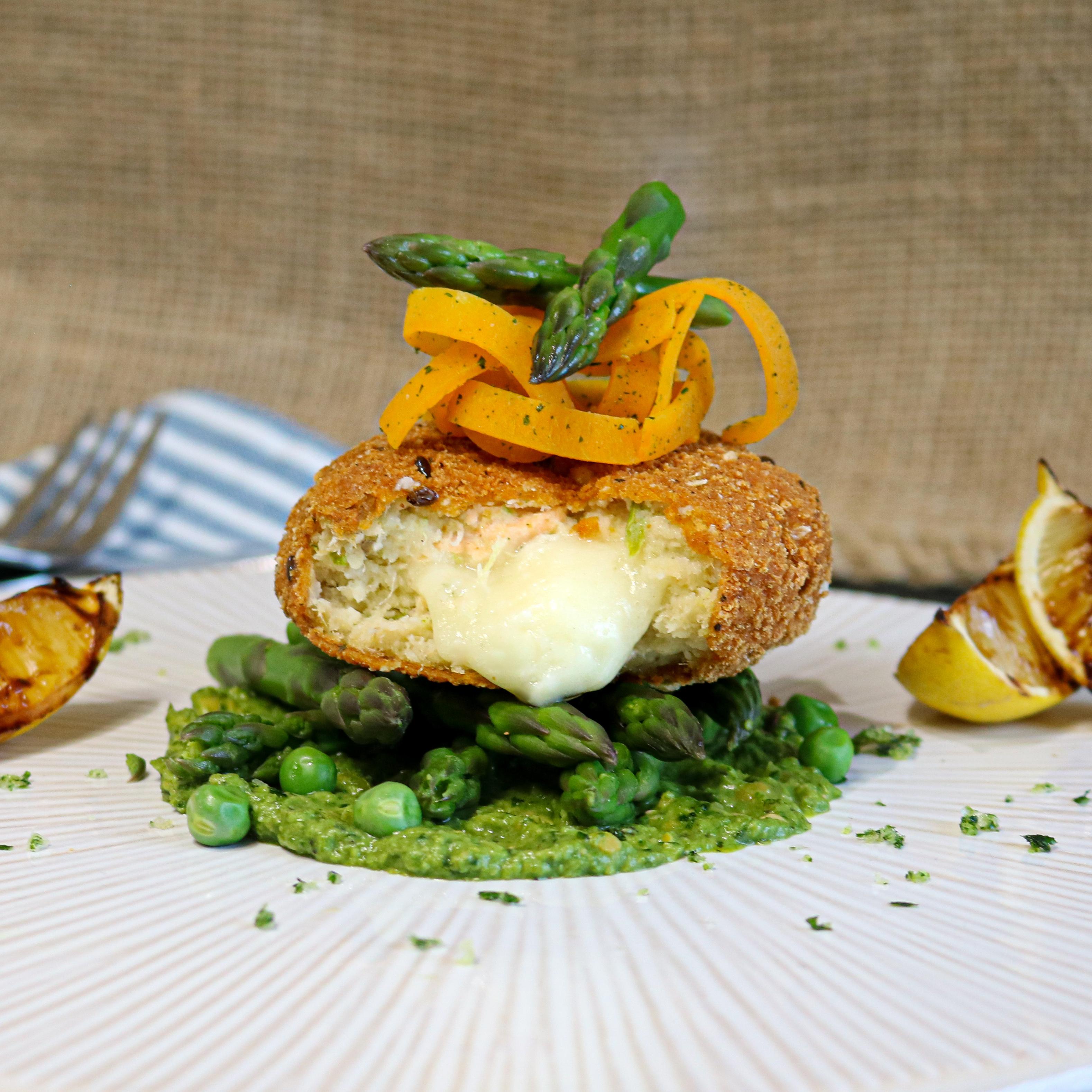 Salmon, Haddock & Asparagus fishcake